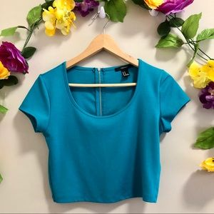 Forever 21 Turquoise crop Top w/ Zip up Back